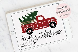 Merry Christmas Truck Clip art SVG