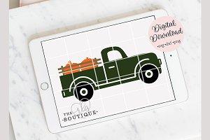 Fall Pumpkin Truck Clip art SVG
