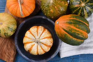 Overhead view of decorative gourds,