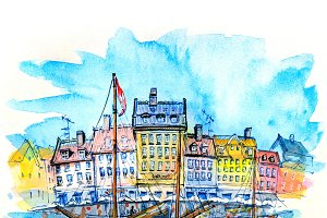 Watercolor sketch of Nyhavn