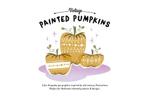 Vintage Painted Pumpkins