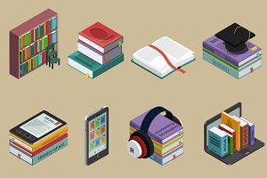 Isometric Colorful Books Collection