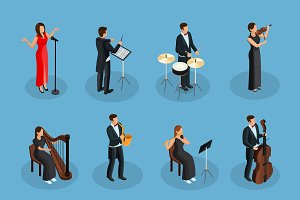 Isometric People In Orchestra Set
