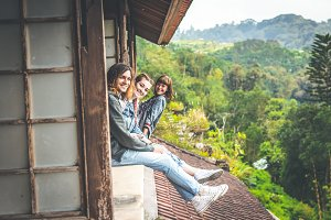 Three tourists in abandoned hotel on