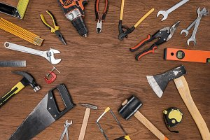 top view of arranged various tools o