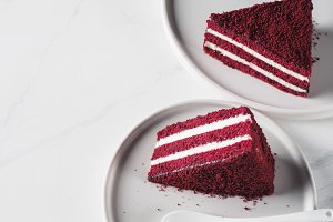 Piece of red velvet cake with