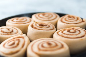 Vegan cinnamon rolls raw dough, top