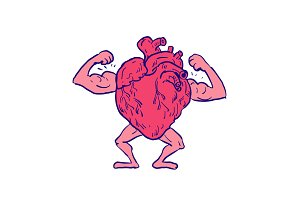 Healthy Heart Flexing Muscle Drawing