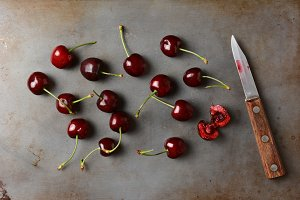 Cherries and Knife