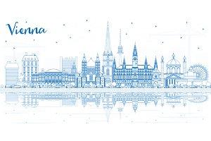 Outline Vienna Austria City Skyline