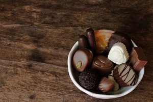 Belgian chocolate in a white bowl