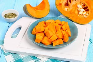 Sliced pumpkin into pieces for cooki