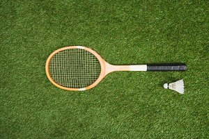 top view of badminton racket and shu