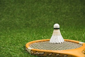 close up view of badminton racket an