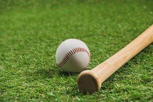Close-up view of wooden baseball bat