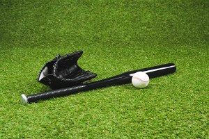 Close-up view of black baseball bat