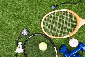Top view of various sport equipment
