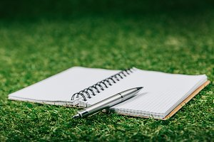 close up view of blank notebook and
