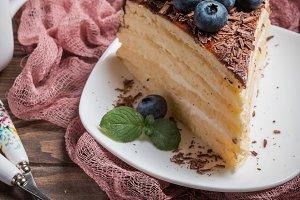 Piece of delicious sponge cake