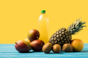 fresh ripe tropical fruits and natur