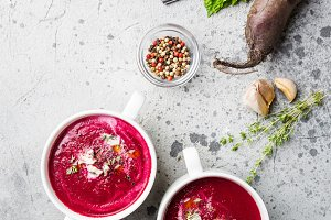 Cold Beetroot creamy soup