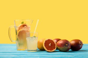 fresh ripe tropical fruits and cold