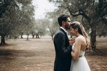 Wedding couple in olive fields