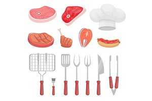 BBQ Set, Barbecue Equipment and Meat