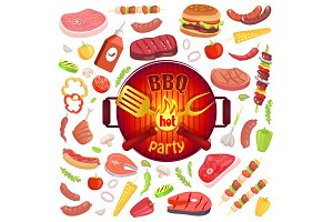 BBQ Party Icons Meat Veggies Vector