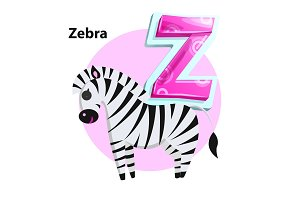 Letter Z for Zebra cartoon alphabet