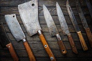 Set of Vintage kitchen knives
