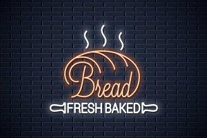 Bread neon banner. Bakery neon sign