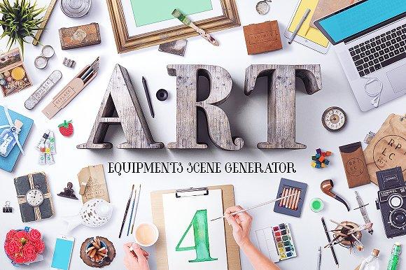 Art Equipments Scene Generator V4 Product Mockups Creative Market