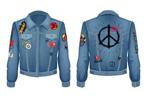 Peace Sign on Back of Jacket Vector