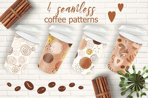 4 seamless coffee patterns