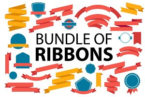 Bundle of retro colorful ribbons