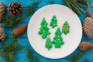 Christmas fir-shaped cookies