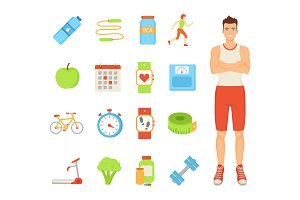Man Healthy Lifestyle of Male Vector
