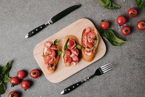 top view of tasty italian bruschetta