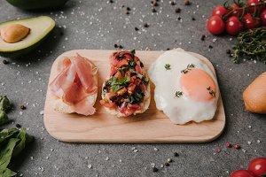 antipasto bruschetta and fried egg o