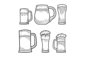 Beer glass, wooden mug.