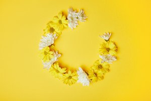 Floral wreath of yellow and white ch