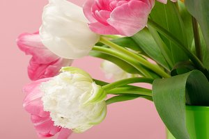 Bouquet of spring tulips in vase on