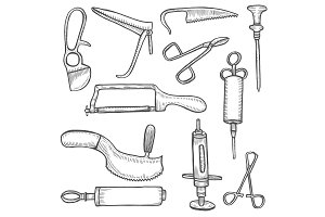 Medical tool collection illustration