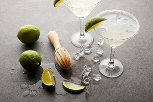 close up view of alcohol cocktails w