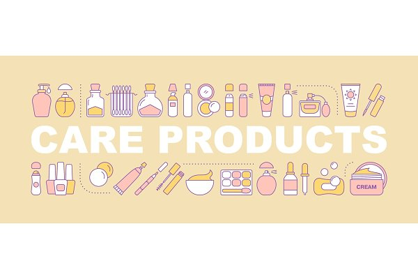Care products word concepts banner