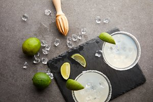 Top view of margarita cocktails with