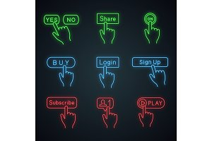Click buttons neon light icons