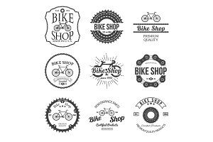 Set of bicycle shop logo badges