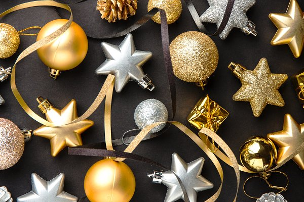 Holiday Stock Photos: Valeria Art - Golden silver christmas deco on blac